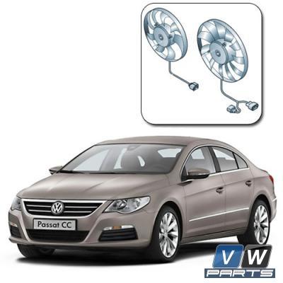 Замена двух вентиляторов с блоком управления на автомобиле Volkswagen Passat CC