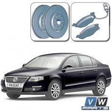 Диски тормозные передние с колодками на Volkswagen Passat B6