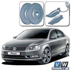 Диски тормозные передние с колодками на Volkswagen Passat B7 - замена