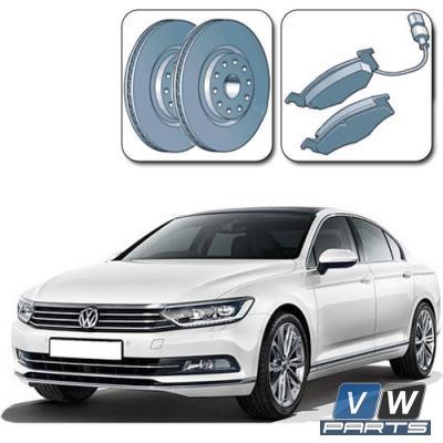 Диски тормозные передние с колодками на Volkswagen Passat B8 - замена