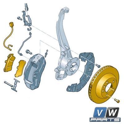 Диски тормозные передние с колодками Volkswagen Touareg NF - замена, vw-parts.ru