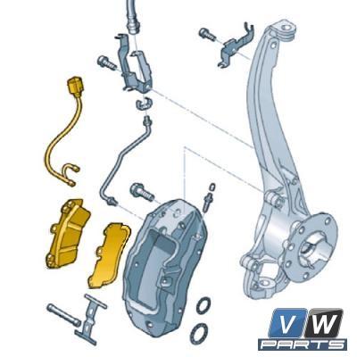Колодки тормозные передние Volkswagen Touareg - замена, vw-parts.ru