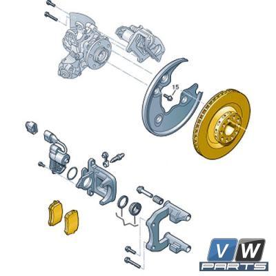 Диски тормозные задние с колодками Audi A4 - замена, vw-parts.ru