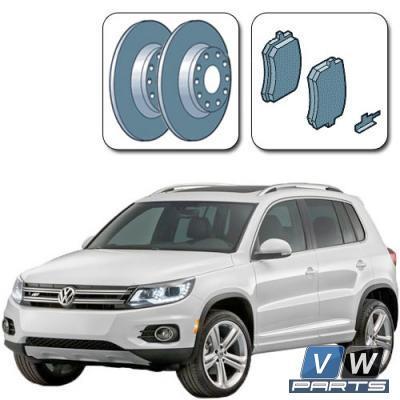 Диски тормозные задние с колодками на Volkswagen Tiguan I (2008-2016) - замена