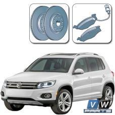 Диски тормозные передние с колодками на Volkswagen Tiguan I (2008-2016) - замена
