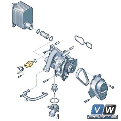 Датчик температуры охлаждающей жидкости на стороне двигателя Volkswagen Tiguan - замена, vw-parts.ru