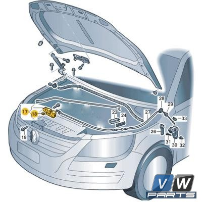 Замок крышки капота нижний Volkswagen Tiguan - замена, vw-parts.ru