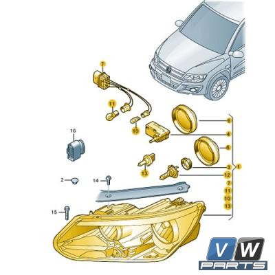 Фара передняя Volkswagen Tiguan - замена, vw-parts.ru