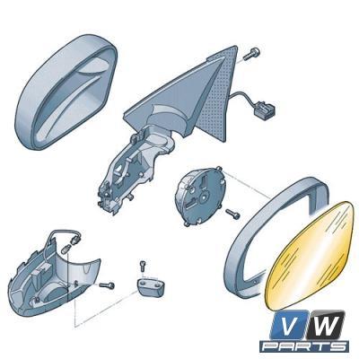 Зеркальный элемент для наружного зеркала Volkswagen Tiguan - замена, vw-parts.ru